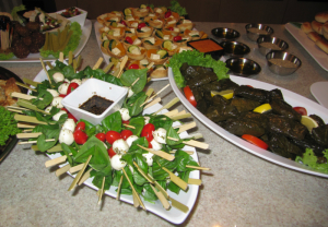 Bocconcini skewers - Pumpkin and fetta tartlets - vine leaf dolmades and dipping zaátar and olive oil